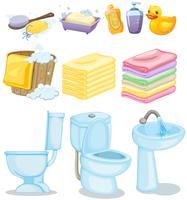 Conjunto de equipamentos de banheiro vetor