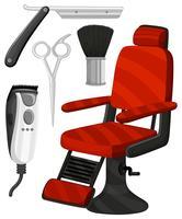 Cadeira de barbeiro e outros equipamentos vetor