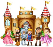 Personagens de contos de fadas e castelo vetor