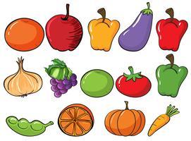 Frutos e vegetais saudáveis vetor