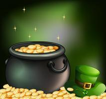 Moedas de ouro dentro de uma panela e um chapéu verde