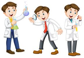 Um conjunto de cientista no fundo branco vetor