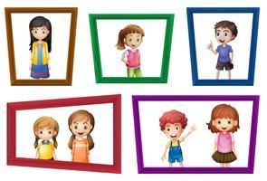 Crianças e quadros vetor