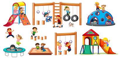 Crianças, ligado, pátio recreio, equipamento