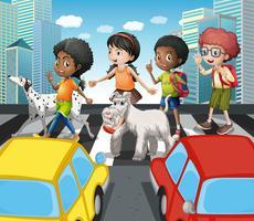 Crianças, cruzando estrada, em, zebra, cruzamento vetor