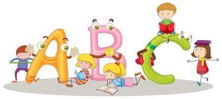 Alfabetos ingleses e crianças felizes vetor