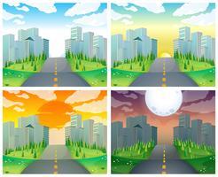 Cena da cidade com edifícios e estrada vetor