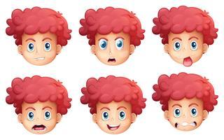 Diferentes expressões faciais vetor