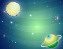 Cena, com, planeta, e, lua vetor