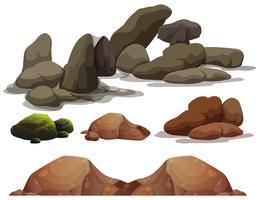Um, jogo, de, rocha, e, pedra, elementos vetor