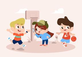 Cute, jogo crianças, personagem jogando, vetorial, ilustração vetor