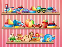 Prateleiras cheias de brinquedos diferentes vetor