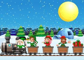 Elfos de Natal no trem à noite vetor