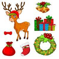 Natal, jogo, com, rena, e, ornamentos vetor