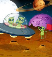 Tema do espaço com alienígenas em UFO vetor