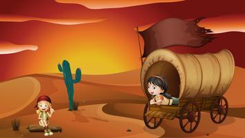 Uma menina deitada dentro da carruagem e uma menina sentada em uma madeira vetor