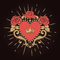 Coração vermelho decorativo bonito com coroa e rosas no fundo preto. Ilustração vetorial vetor