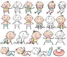 Bebés e raparigas em postos diferentes vetor