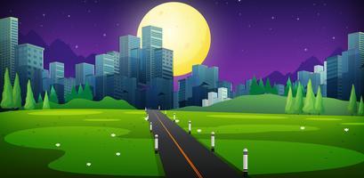 Cena de fundo com a estrada para a cidade vetor