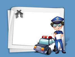 Um, em branco, papelaria, com, um, policial vetor