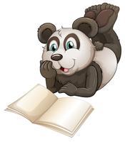Um panda com um livro vazio vetor
