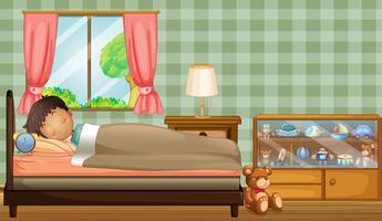 Um menino dormindo profundamente dentro de seu quarto vetor