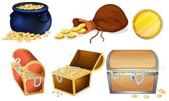 Caixas diferentes e pote de ouro vetor