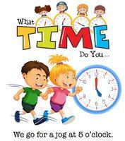 Crianças correndo às 5 horas vetor