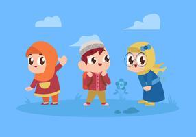 Personagem de crianças muçulmanas fofos jogando ilustração vetorial vetor