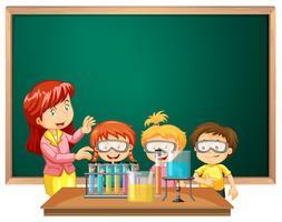 Alunos da aula de ciências vetor