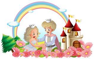 O rei e a rainha na frente de seu castelo vetor