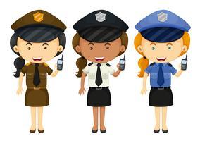Polícia feminina em três uniformes diferentes vetor