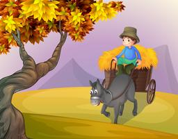 Um menino e um carrinho de cavalo vetor