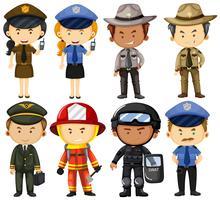Pessoas em uniformes de trabalho diferentes vetor