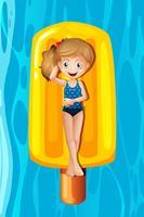 Menina jovem, relaxante, ligado, popsicle, inflável vetor
