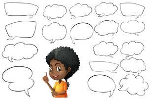 Kid e diferentes tipos de discursos de bolha vetor