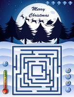 Modelo de jogo de labirinto com tema de Natal vetor