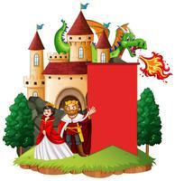 Modelo de banner com rei e rainha vetor