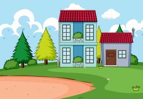 Construção de casas na natureza vetor