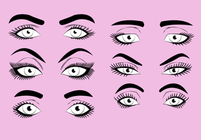 Woman Eyelashes Clipart Set Ilustração vetorial vetor