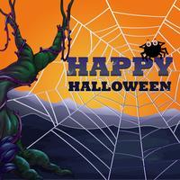Tema de Halloween com teia de aranha vetor