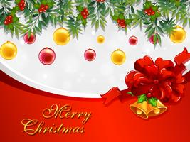 Modelo de cartão de Natal com sinos e enfeites vetor