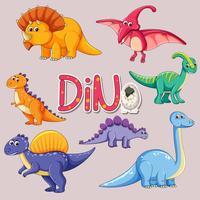 Conjunto de autocolante de dinossauro vetor