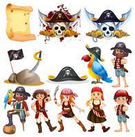 Personagens piratas diferentes e símbolos piratas vetor