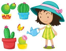 Conjunto de jardinagem com plantas molhando menina vetor