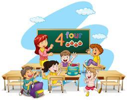 Professor, ensinando, estudantes, em, sala aula vetor