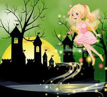 Fada fofa voando com torres do castelo no fundo vetor