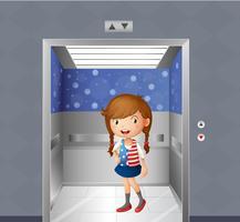 Uma menina dentro do elevador vetor