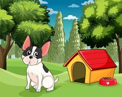 Um cachorro perto de uma casa de cachorro com uma comida de cachorro