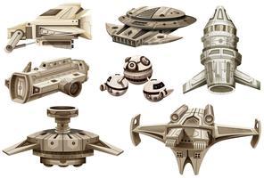 Projetos diferentes de naves espaciais vetor